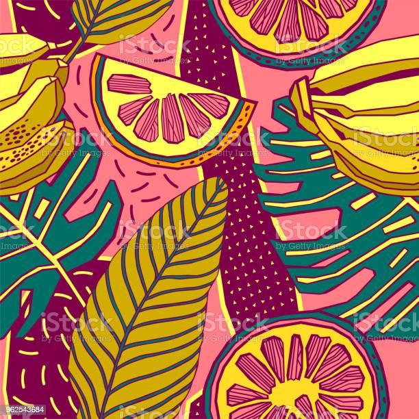 Vetores de Folhas De Padrão De Desenho Vetorial Tropical Mão Sem Costura Com Flores Brilhantes E Palmeiras Exóticas e mais imagens de Arte Linear