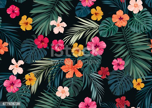 istock Seamless hand drawn tropical vector pattern with bright hibiscus flowers and exotic palm leaves on dark background 677928238