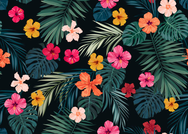 Seamless hand drawn tropical vector pattern with bright hibiscus flowers and exotic palm leaves on dark background Seamless hand drawn tropical pattern with bright hibiscus flowers and exotic palm leaves on dark background. Vector illustration. hawaiian culture stock illustrations