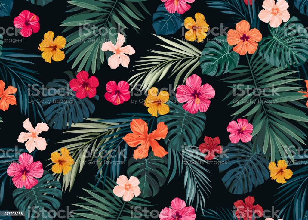 Seamless hand drawn tropical vector pattern with bright hibiscus flowers and exotic palm leaves on dark background vector art illustration