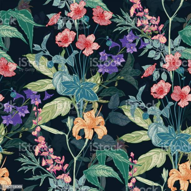 Seamless hand drawn vintage pattern with detailed flowers and herbs vector id1160759069?b=1&k=6&m=1160759069&s=612x612&h=jwnlxmrq6p  fttgplx6basr8f9zczotuggwjq42cxk=