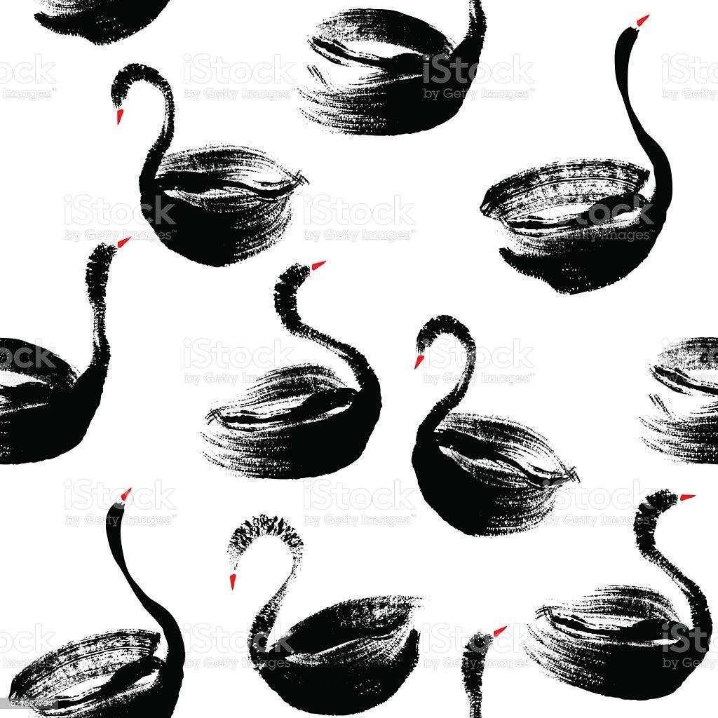Seamless hand painted black swans pattern. vector art illustration