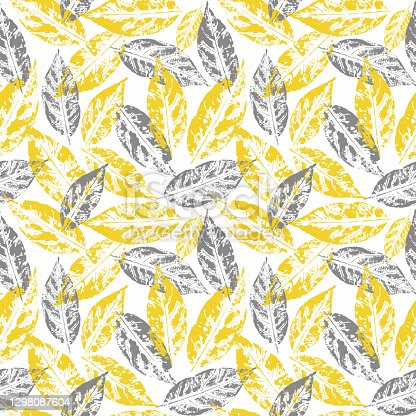 istock Seamless handcrafted pattern with autumn leaves. Vector grunge leafs print. Vector seamless pattern. Print for fabric, wallpaper, wrapping 1298087604