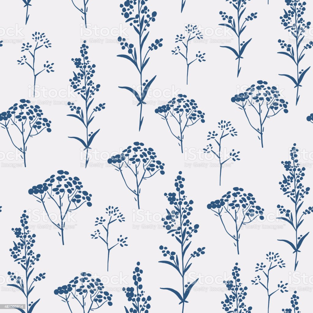 Seamless hand-drawn floral pattern with herbs vector art illustration