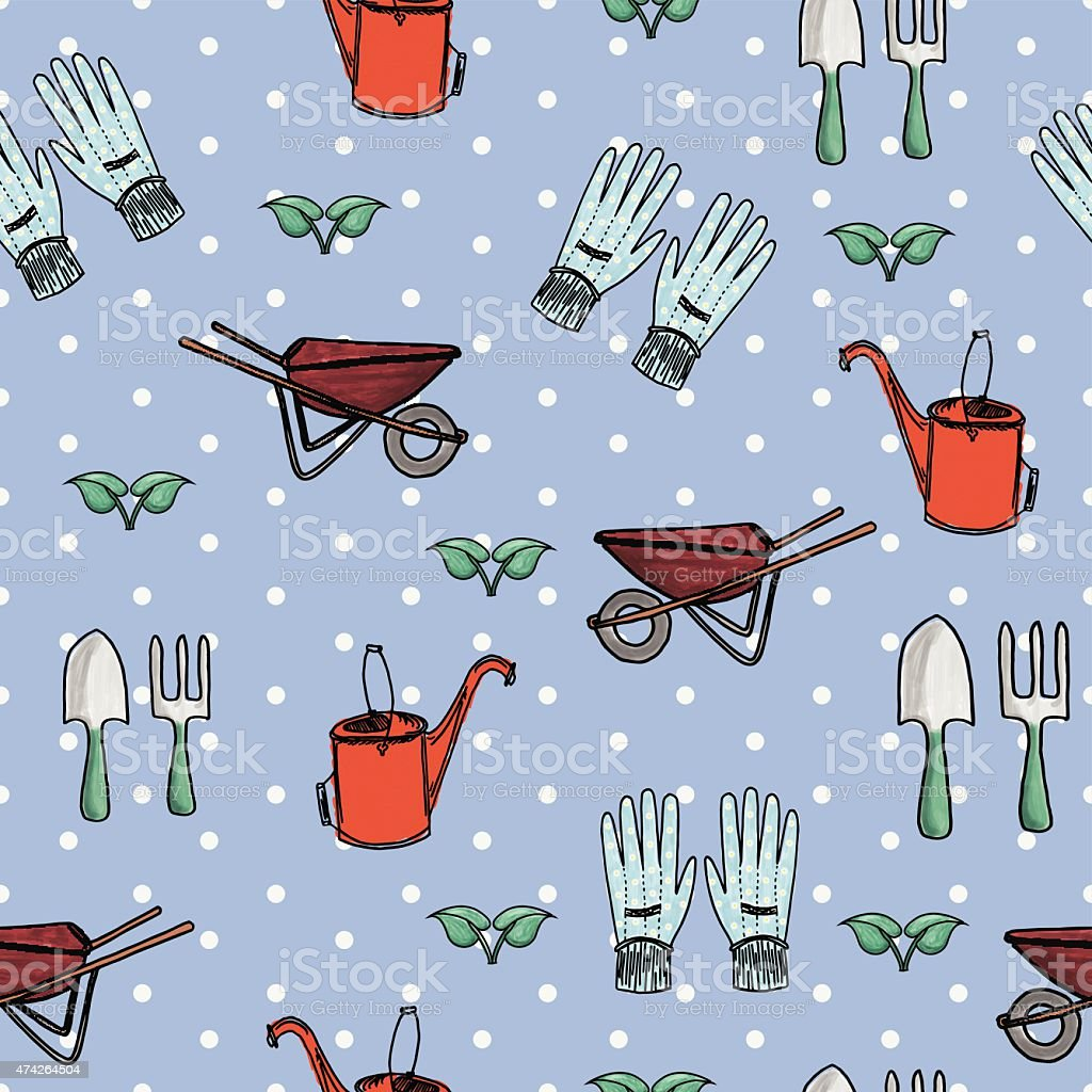 Seamless Hand-Drawn Garden Set vector art illustration