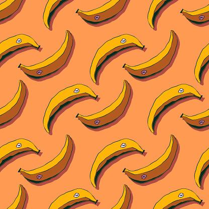 Seamless hand-drawn illustration of doodles - Bananas.