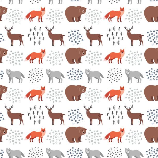 bildbanksillustrationer, clip art samt tecknat material och ikoner med sömlös handritade mönster med skogens djur: fox, björn, rådjur, varg på vit bakgrund. skandinavisk designstil. - swedish nature