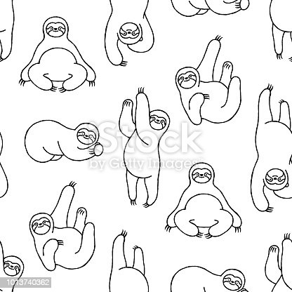 Sloths have taken over pop culture and this hand-drawn seamless sloth pattern will make an idea background for your design project. The black and white illustration is full of character and the different sloths are split onto clearly labelled layers. The illustrator 10 vector file can be coloured and customized to suit your needs and scaled infinitely without any loss of quality.