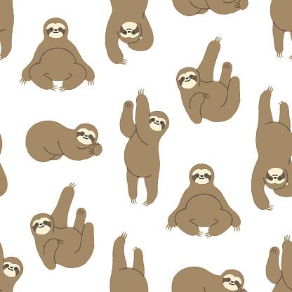 Seamless Hand-Drawn Sloth Pattern