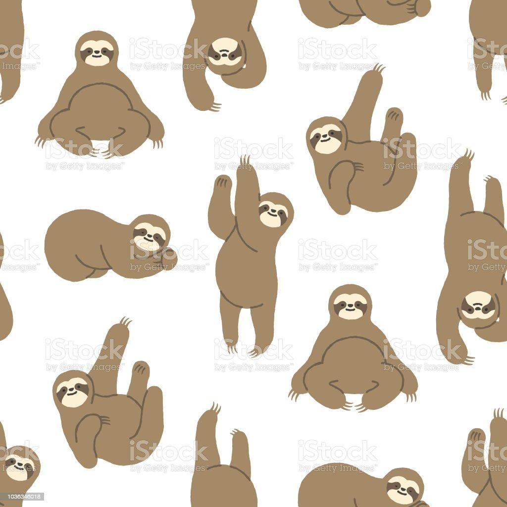 Seamless Hand-Drawn Sloth Pattern vector art illustration