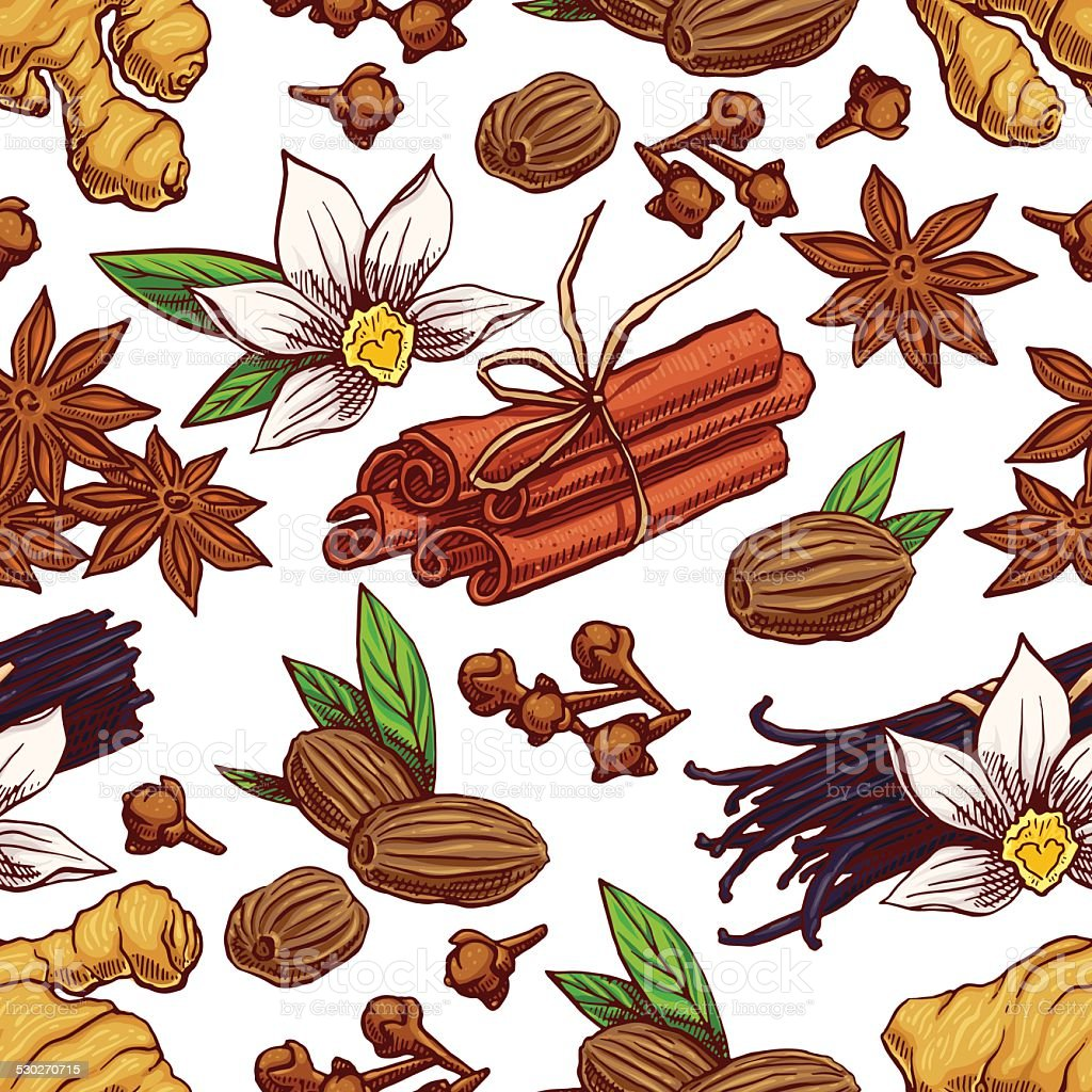 seamless hand-drawn spices vector art illustration