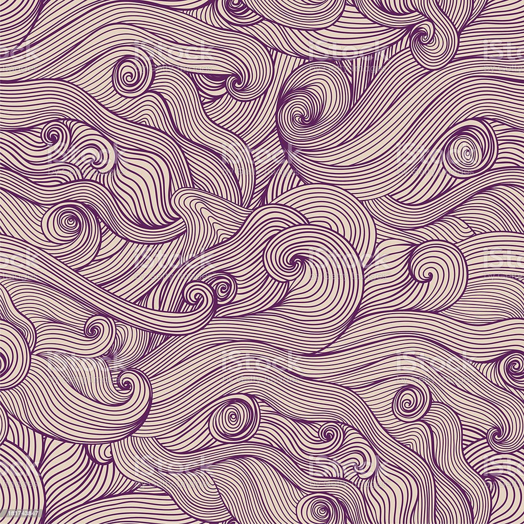 Seamless hand-drawn waves texture royalty-free stock vector art