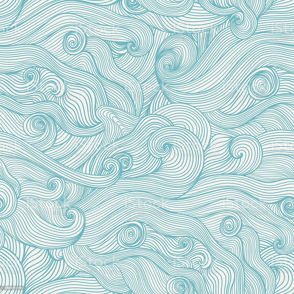 Seamless hand-drawn waves texture. royalty-free stock vector art
