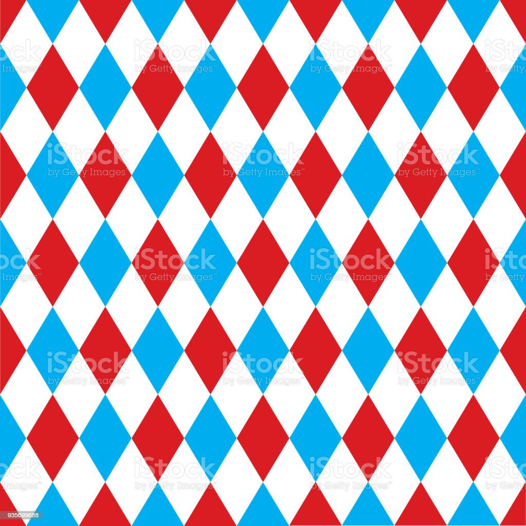 Seamless harlequin pattern background in red and blue. vector art illustration