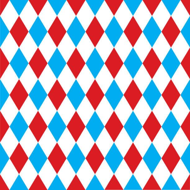 illustrazioni stock, clip art, cartoni animati e icone di tendenza di seamless harlequin pattern background in red and blue. - rombo