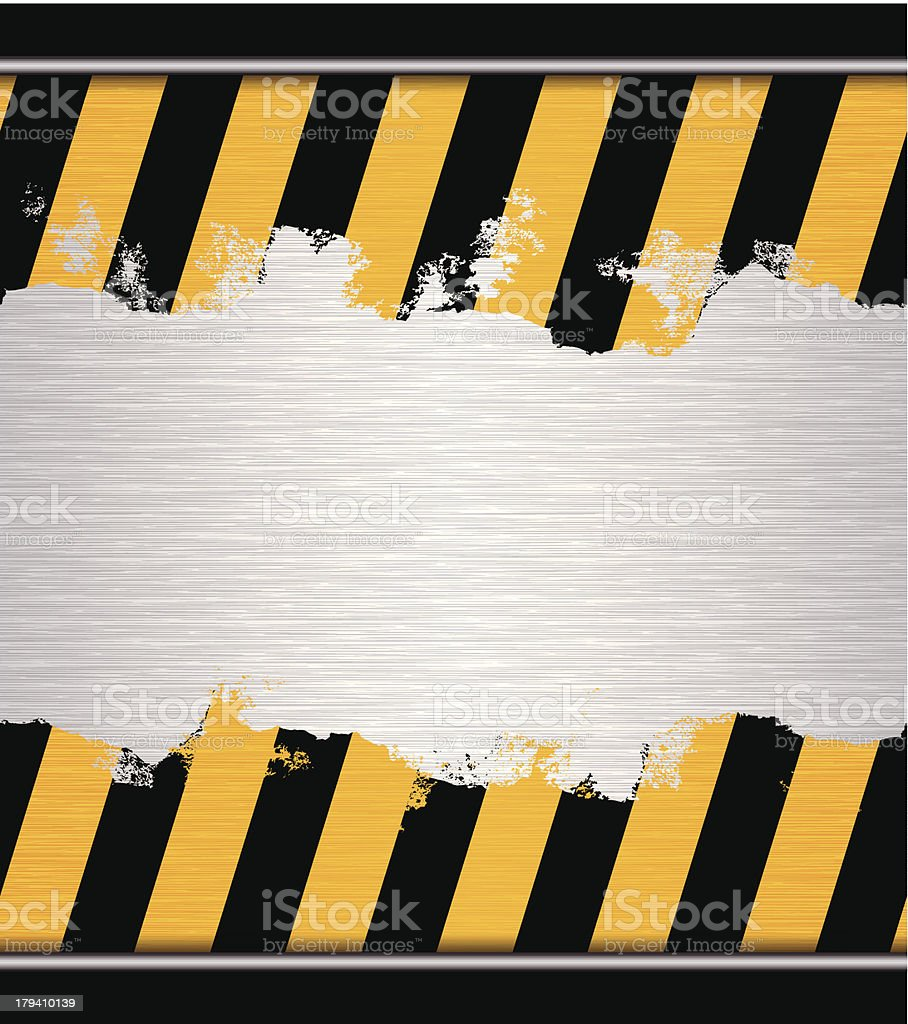 seamless hazard warning adhesive tape on metallic plate vector art illustration