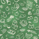 Sketches of healthy food on a blackboard. Will tile endlessly.