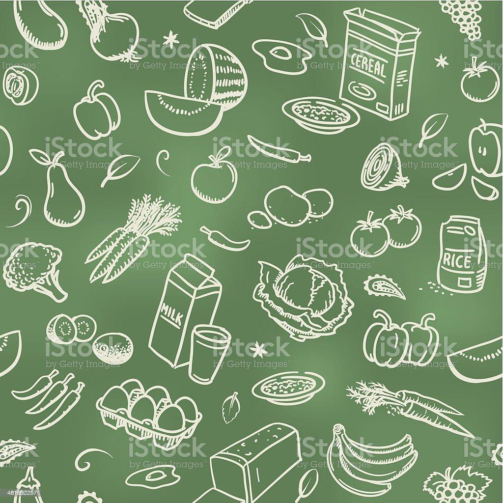 Seamless healthy food background vector art illustration