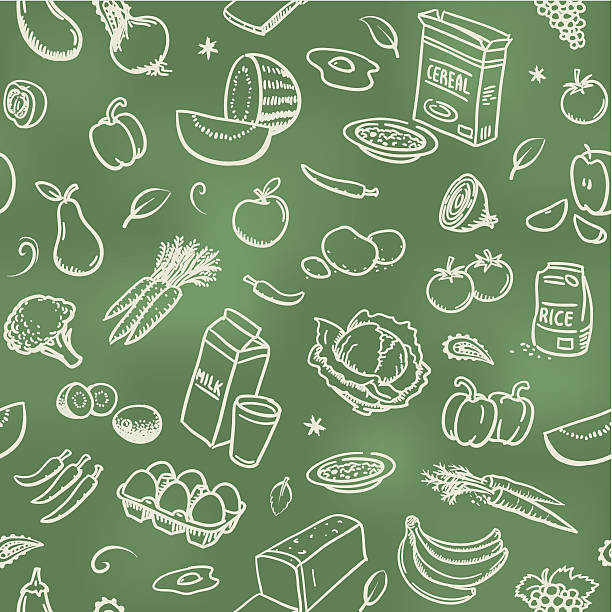 Seamless healthy food background Sketches of healthy food on a blackboard. Will tile endlessly. fruit backgrounds stock illustrations