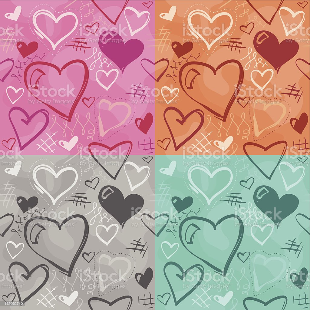 Seamless Heart Background - 4 Flavors royalty-free stock vector art
