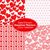 A collection of hand drawn seamless heart backgrounds