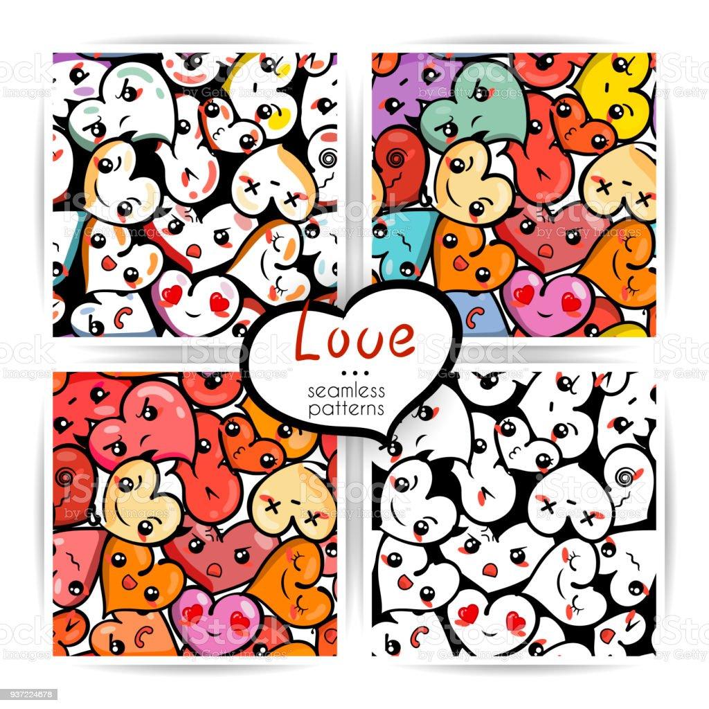 Nahtlose Herz Hintergrunde Mit Emoji Fur Den Valentinstag Stock