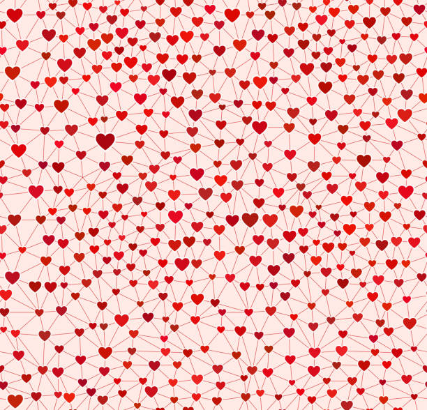 Seamless Heart Wallpaper on Red Background vector art illustration