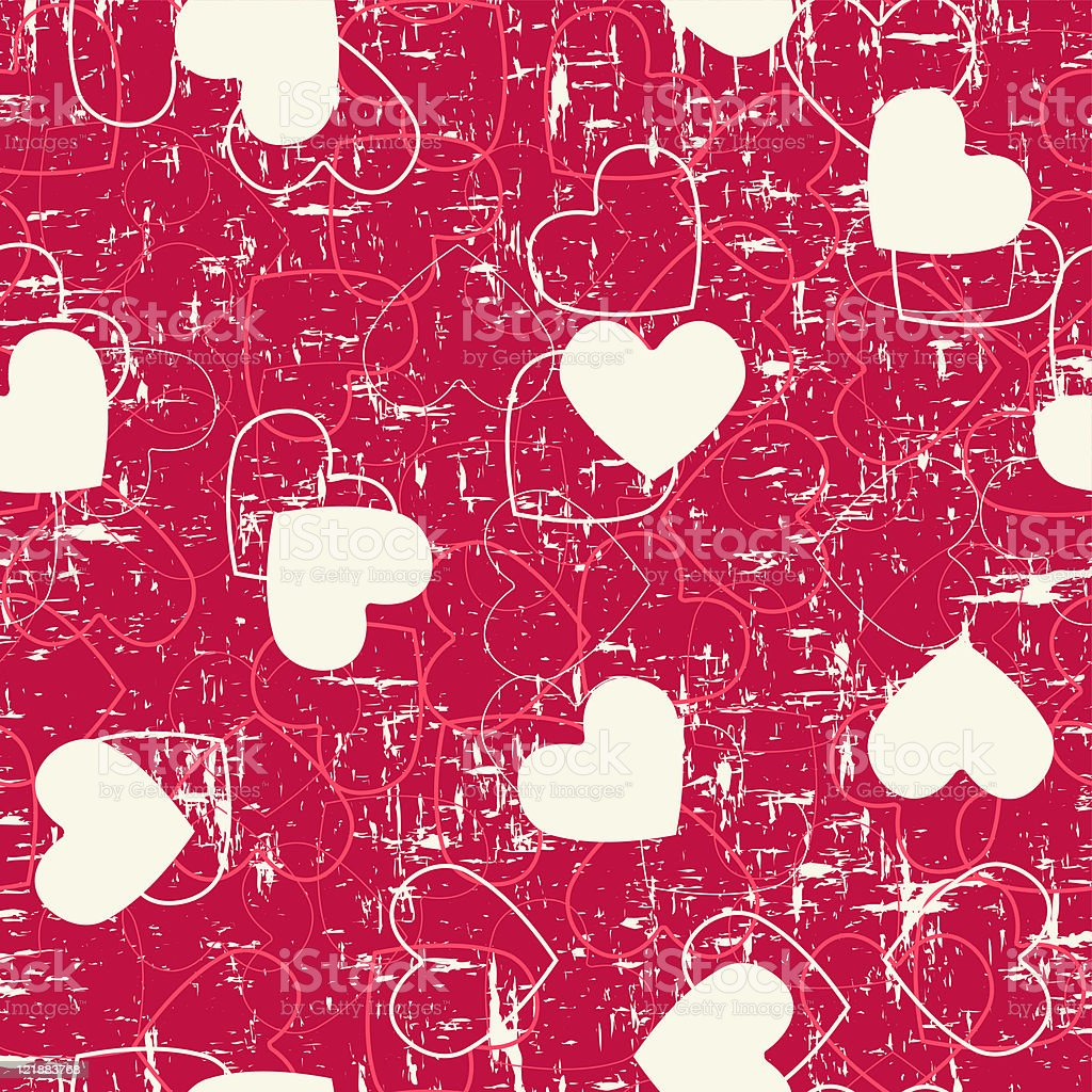 Seamless hearts grunge background. royalty-free seamless hearts grunge background stock vector art & more images of backgrounds