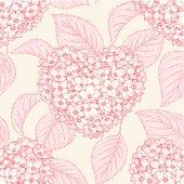 pattern of Hydrangeas in the form of Heart