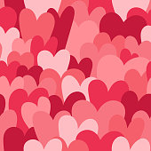 A seamless pattern of a hand drawn pile of hearts. EPS10 vector illustration, global colors, easy to edit.