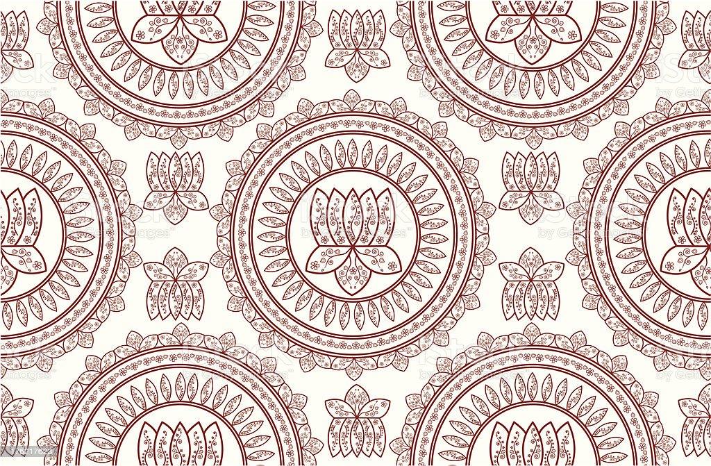 Seamless Henna Lotus Mandala Stock Vector Art More Images Of