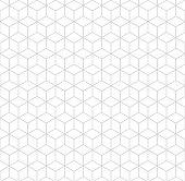 Seamless hexagonal grid pattern. Vector background hexaganal cube elements. Modern grey simple grid.