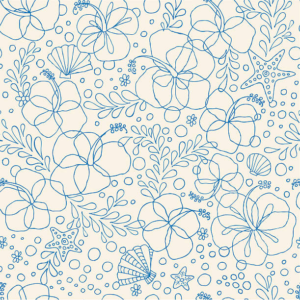 Seamless Hibiscus Floral Pattern vector art illustration