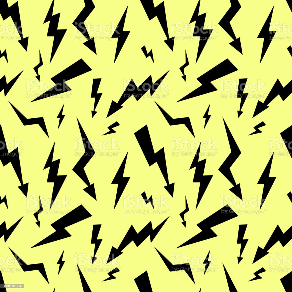 Seamless High Voltage Pattern On Yellow Background Lightning Flat ...