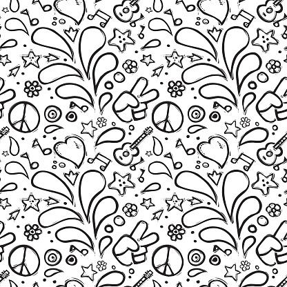 Seamless Hippie Pattern.