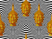 Seamless hippie pattern with Buddha head. Thai god, yoga zen. Esoteric background perfect for wallpaper, pattern fill, web page, surface texture, textile. Indian Buddhism spiritual art