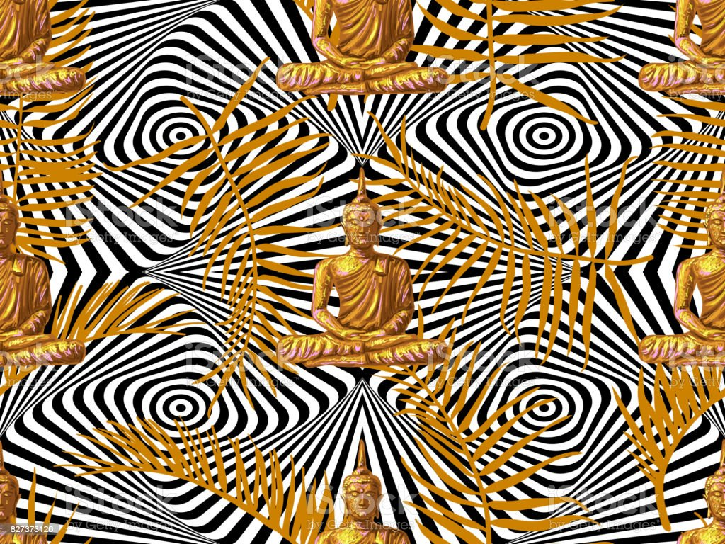 Seamless Hippies Pattern With Sitting Buddha Palm Leaves Thai God Yoga Zen Esoteric