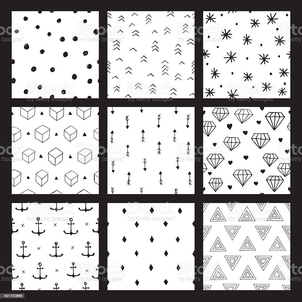hipster nahtlose Muster set – Vektorgrafik