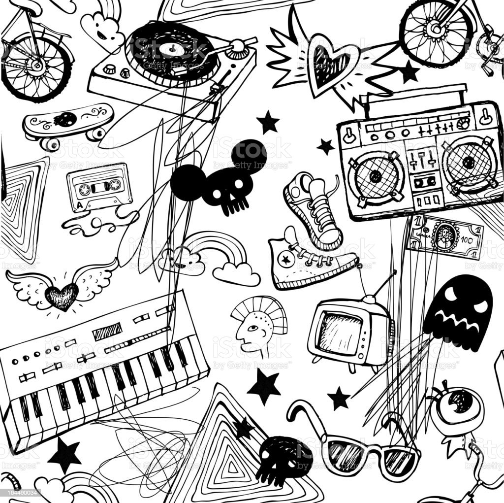 Seamless hipsters background vector art illustration