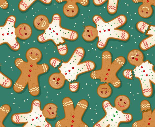 ilustraciones, imágenes clip art, dibujos animados e iconos de stock de patrón de hombre de pan de jengibre de vacaciones sin costuras sobre fondo rojo. - gingerbread man