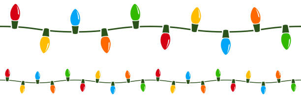 seamless holiday lights - christmas lights stock illustrations