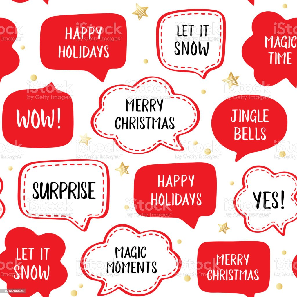 Seamless holiday pattern of vector red speech bubbles with greetings seamless holiday pattern of vector red speech bubbles with greetings merry christmas happy holiday m4hsunfo