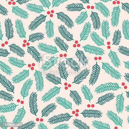 istock Seamless Holiday Pine Holly Branch Background 1288691452
