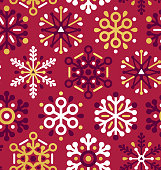 Holiday Christmas wrapping paper red and gold abstract snow pattern background seamlessly repeating snowflake design.