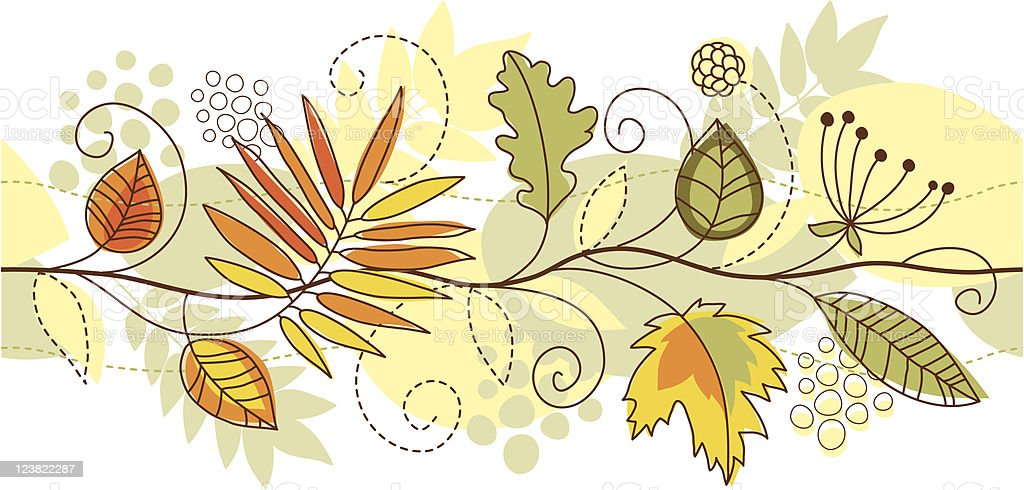 seamless horizontal autumn leaves royalty-free stock vector art