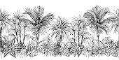 istock Seamless horizontal border with sketchy palm trees. 1220435238