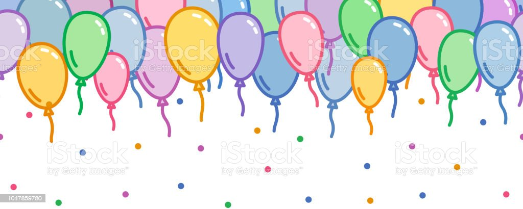 Seamless Horizontal Decoration With Colorful Balloons Confetti Without Background Naive And Simple Decorative Motif