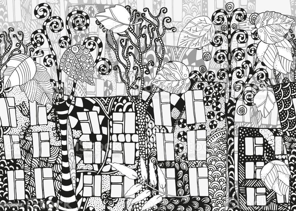 Ilustración de Fondo Calle Horizontal Sin Problemas Casas árboles Y ...