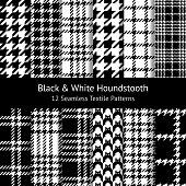 Seamless houndstooth patterns in black & white. Set of 12 pixel patterns for coat, skirt, scarf, or other textile design. Vector illustration.