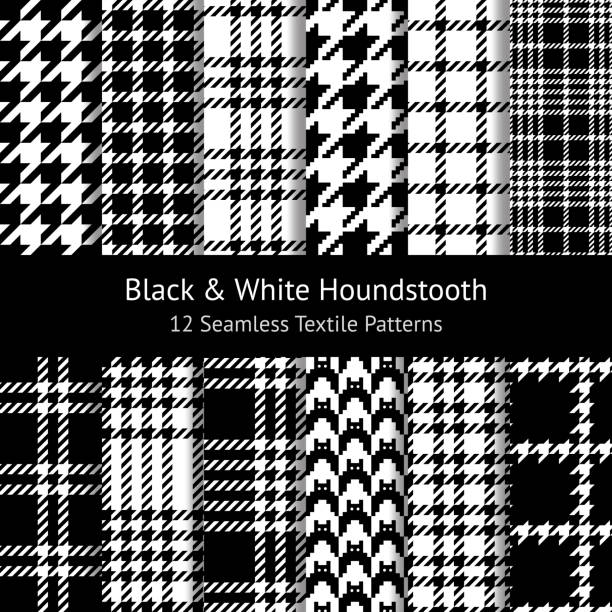 Seamless houndstooth patterns in black & white. Set of 12 pixel patterns for coat, skirt, scarf, or other textile design. Vector illustration. Seamless houndstooth patterns in black & white. Set of 12 pixel patterns for coat, skirt, scarf, or other textile design. Vector illustration. tartan pattern stock illustrations